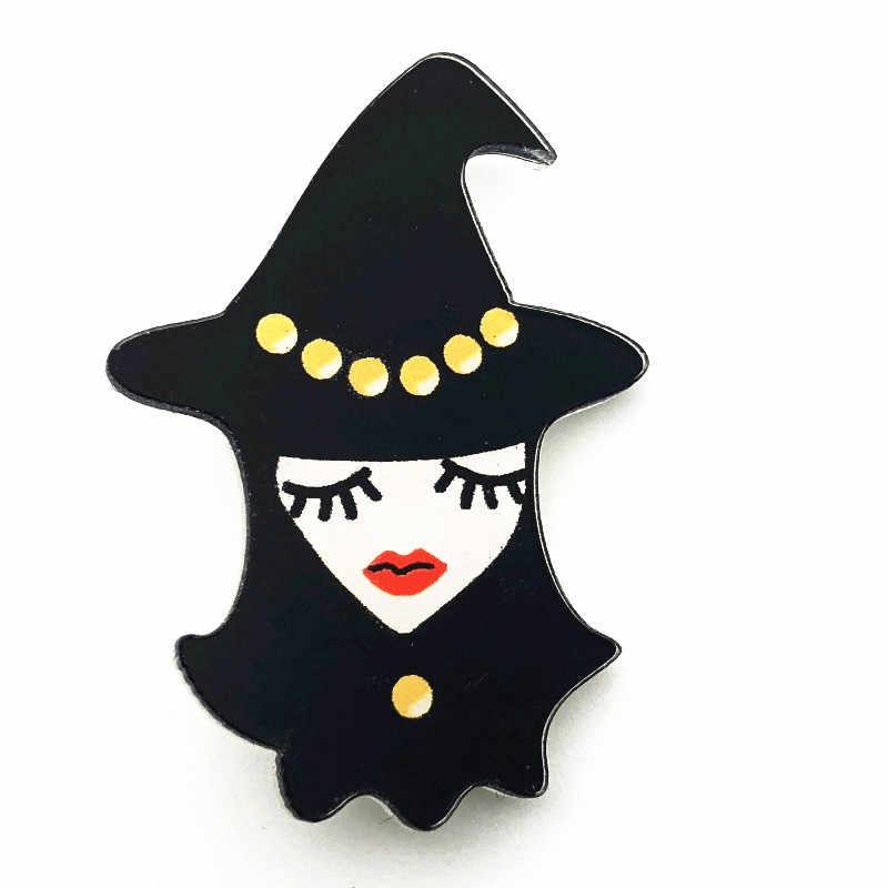 1 pz Cartone Animato Regalo di Halloween Strega Martinetti Fantasma Spilla Zaino borse Abbigliamento Icone Acrilico Distintivi e Simboli Spille Spilli regalo del partito