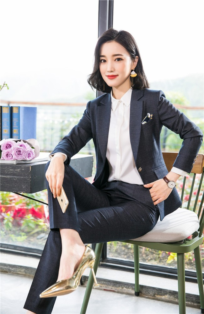 High Quality Fabric Women Business Suits Autumn Winter Uniform Designs Blazers Ladies Office Work Wear Sets Novelty Gray