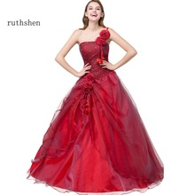 Ruthshen BallชุดQuinceaneraเดรสVestidos De 15สีแดงหวานสิบหกชุดหนึ่งไหล่Debutante Gowns Robe De Bal 2019