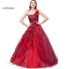Ruthshen balo Quinceanera elbiseler Vestidos De 15 kırmızı tatlı on altı elbise bir omuz Debutante abiye Robe De Bal 2019
