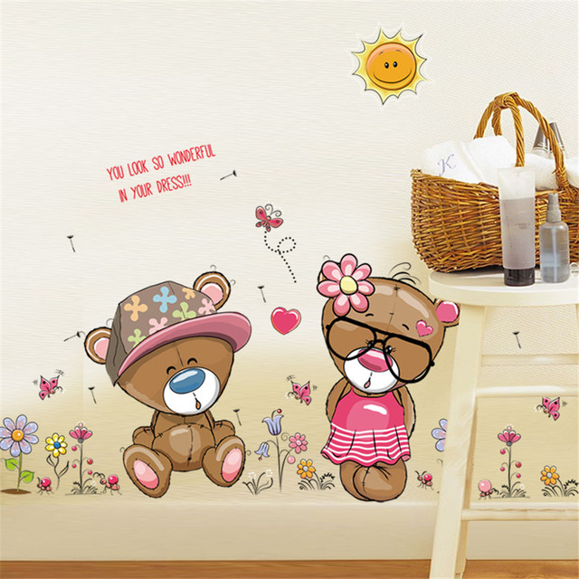 Removable Vinyl Cute Couple Bears Diy Wall Stickers Home Decor