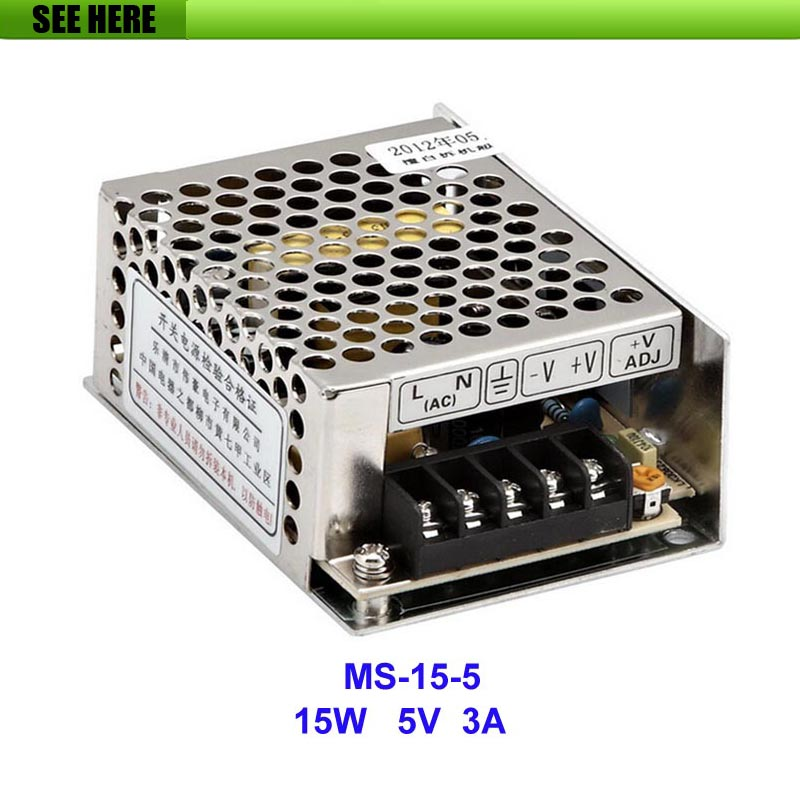 Free Shipping 15W 5V 3A Small Volume Single Output Switching Power Supply For LED Strip light MS-15-5