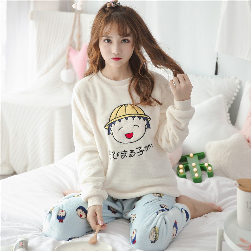 b654c36067 Thick winter coral velvet pajamas long-sleeved cartoon flannel cute home  service sweet leisure suits
