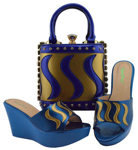 Image 4 - Matching Shoes and Bag Set Gold Color Italian Ladies Shoe and Bag Set Decorated with Rhinestone African Party Shoes MD005