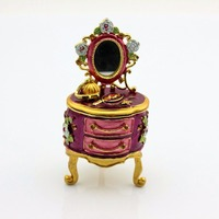 Hot Sale Handmade Dresser Trinket Box Enamel Metal Jewelry Box With Mirror