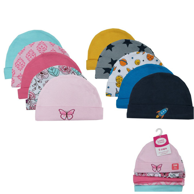 Retail 5 PCSLOT Winter Autumn Crochet Baby Hat Car Pattern Embroidered Girl Boy Cap Unisex Toddlers Caps Baby Accessories 0-6 M (2)