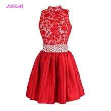 vestido curto High Neck Lace Beads Empire Short Homecoming Dress A Line Red Bridesmaid Dresses Sexy Backless Mini Party Dresses lace insert high neck a line mini dress