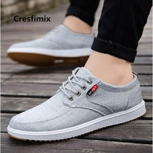 Cresfimix Male Fashion Comfortable Grey Cloth Lace Up Shoes Lady Cool Spring Shoes Zapatos Hombre Chaussures Masculines E5001