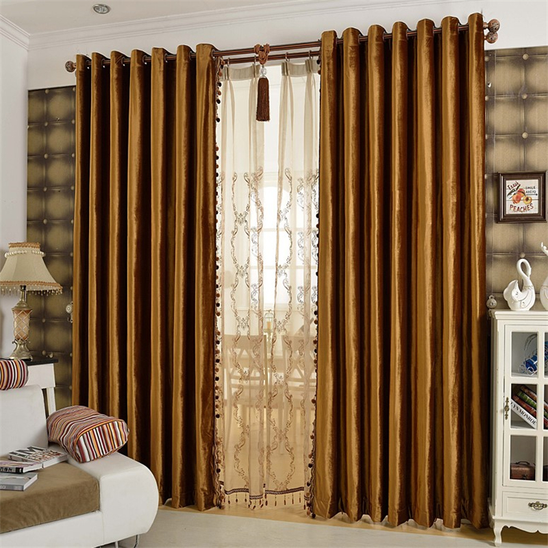... European Luxury Gold Coffee Velvet Blackout Curtains For Living Room  Window Curtain Bedroom Window Curtain Kitchen ...