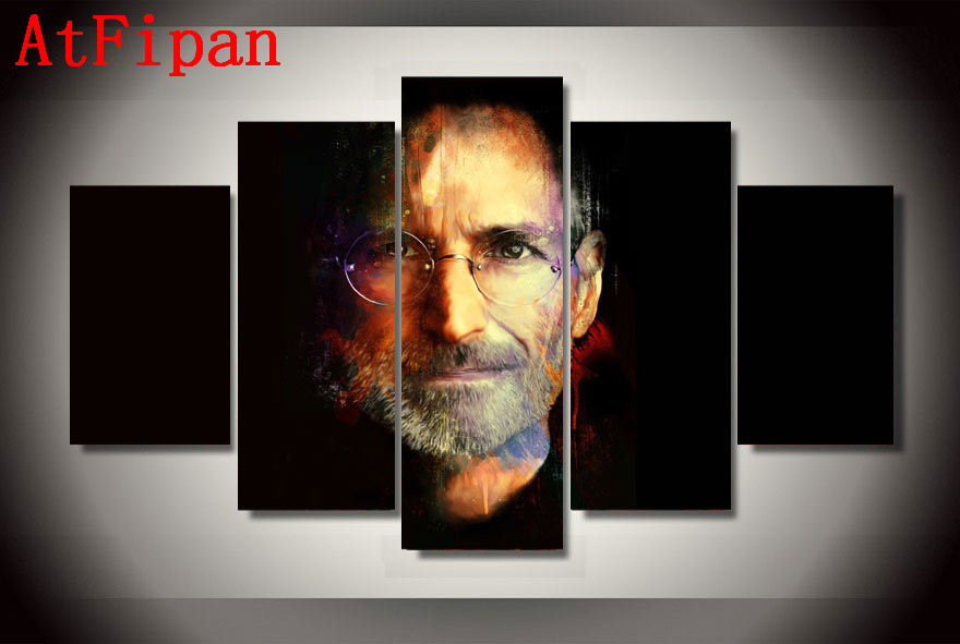 AtFipan Modular Pictures 5P Steve Jobs Apple Poster Modern Paintings On Canvas Cuadros Decoracion Wall