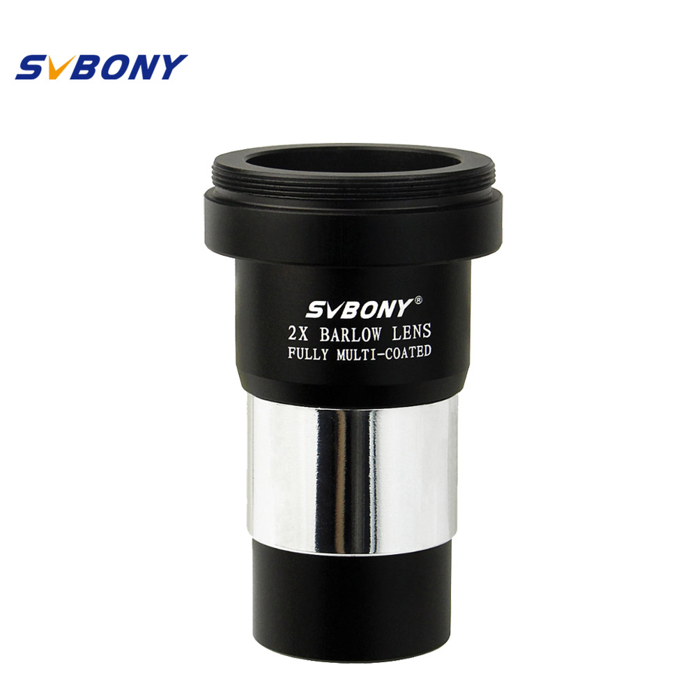 SVBONY 1.25'' Barlow Lens X 2 Telescope M42X0.75 Thread for Standard for Astronomy Telescope +T Adapter Double Lens F9108