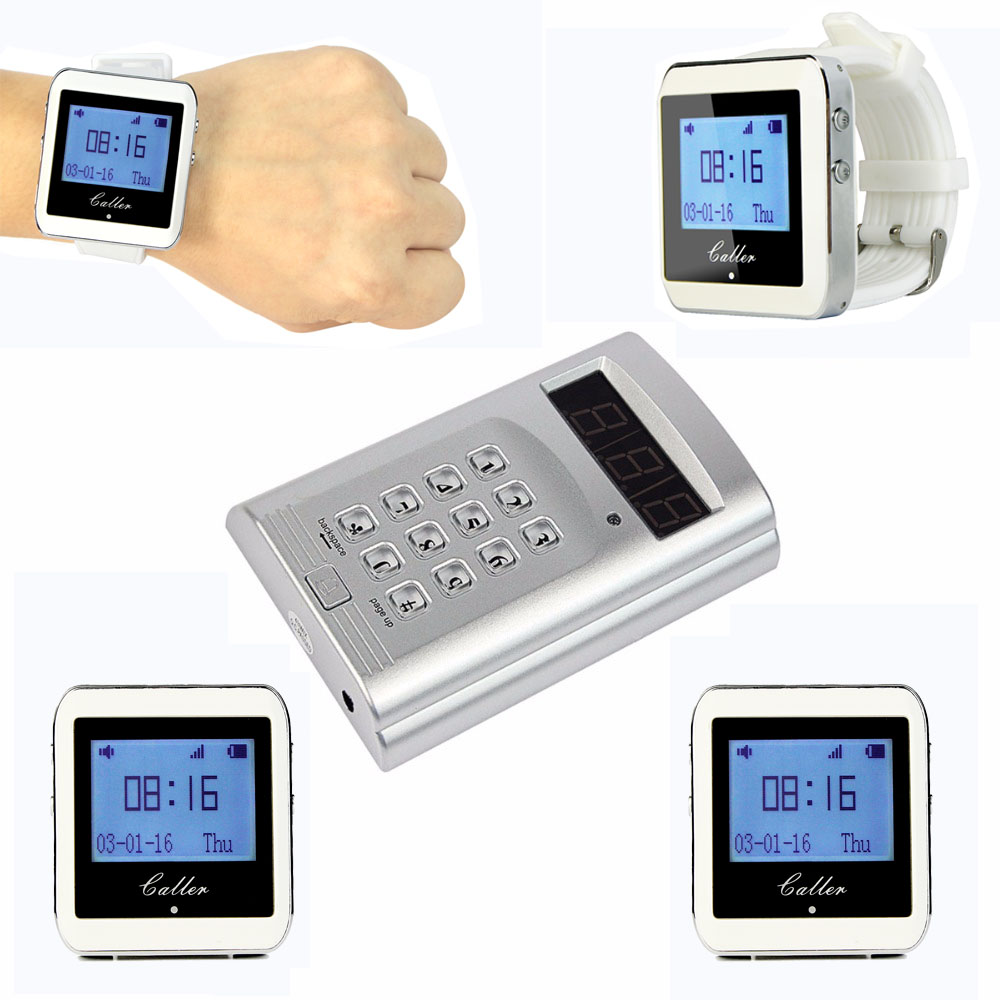 TIVDIO Wireless Calling System Waiter Call Paging System Restaurant Pager 1 Keyboard Transmitter+4 Watch Receiver F3288B waiter restaurant guest paging system including wrist pager watch call bell button and display receiver show customer service
