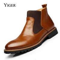 YIGER nouveau hommes Chelsea bottes bottines grande taille noir/marron/vin rouge Style britannique homme bottes en cuir souple livraison gratuite 0001