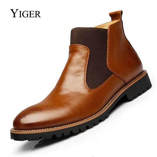 YIGER ใหม่ผู้ชายเชลซีรองเท้าบู๊ทข้อเท้าขนาดใหญ่สีดำ/น้ำตาล/ไวน์แดงสไตล์อังกฤษชายรองเท้าหนังนุ่มจัดส่งฟรี 0001