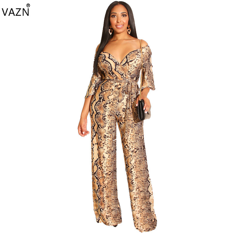 Jumpsuits Hearty Vazn Summer 2019 Women Casual Fashion Snake Grain Printed Comfortable Multicolor Floor-length Jumpsuits Long Pants Oss19215
