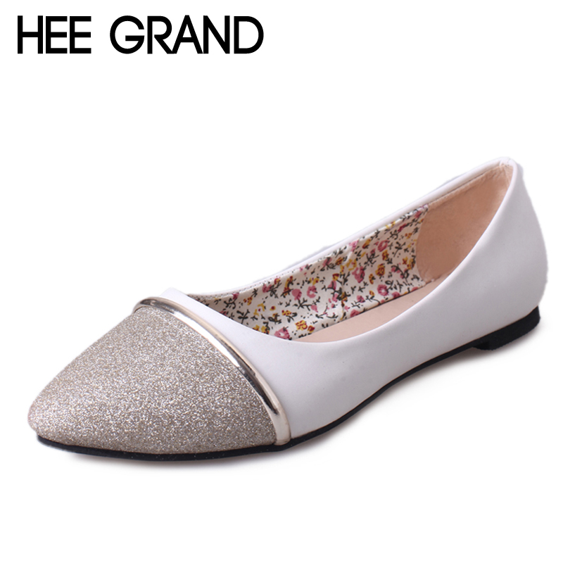 HEE GRAND Women Flats Patchwork Soft Loafers Shoes Woman Summer Pointed Toe Casual Shoes Gold Sliver Colors Size 35-39 XWD6343 yiqitazer 2017 new summer slipony lofer womens shoes flats nice ladies dress pointed toe narrow casual shoes women loafers