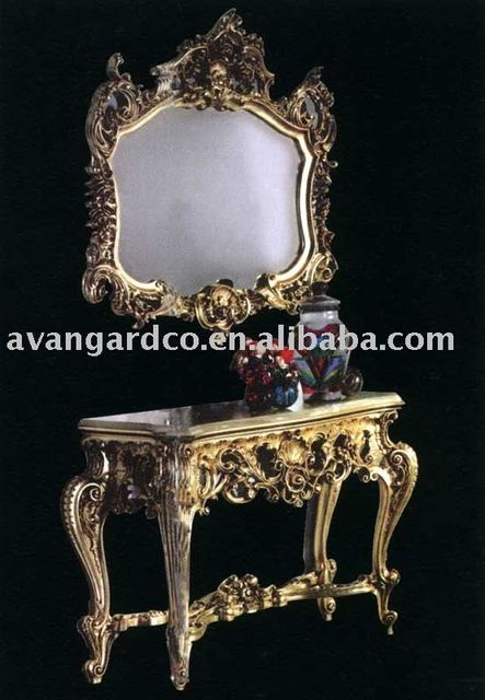 Italian Luxury Solid Wood Console Table Mirror Hand Carved Furniture