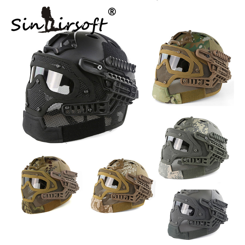 Sinairsoft New G4 system protective Tactical Helmet full face mask with Goggle for Military Airsoft Paintball Army WarGame tactical wargame motorcycling helmet w eye protection glasses black size l7
