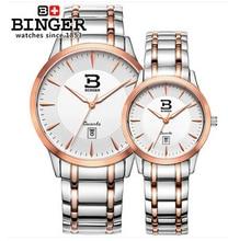 Binger unisex Stanless Steel watches men luxury brand big watch for lovers Rose Gold lady sport women dress quartz wristwatch