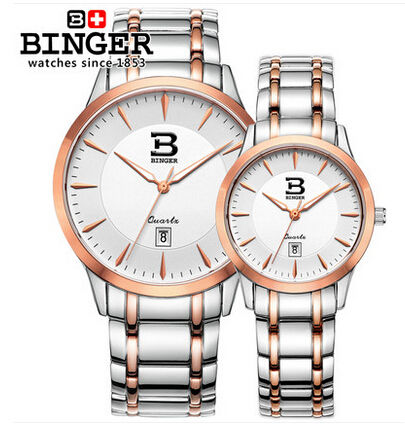 Binger unisex Stanless Steel watches men luxury brand big watch for lovers Rose Gold lady sport