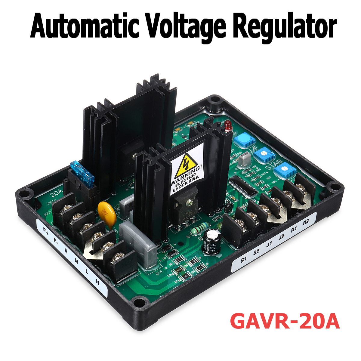 Automatic Voltage Regulator Module GAVR-20A AV Universal Brushless AVR Generator 220/400VAC Frequency Protection EMI Suppression
