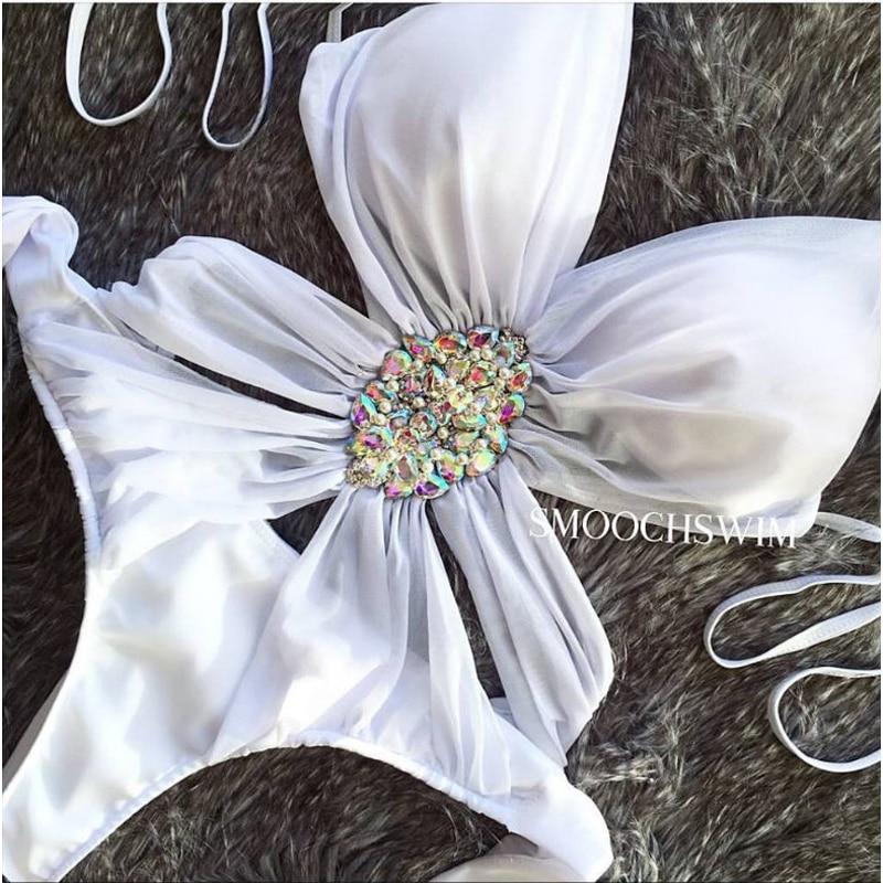 Sports Swimsuit Swimwear Female Swim Suit One Piece Woman Dress Plavky Rashguard 2018 Bikinis Pearls Diamonds Polyester Solid