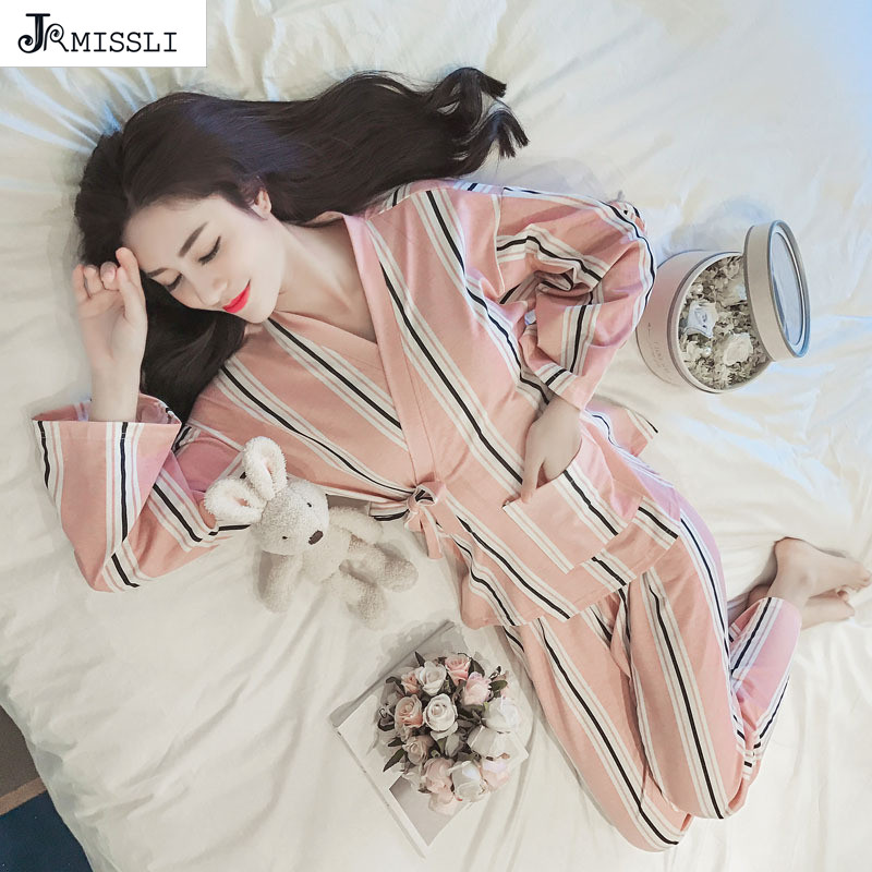 JRMISSLI kimono Cotton Pijama Entero Pajamas Women Pyjama Femme Sleepwear Women Pajamas Pijama Feminino Pajama Women