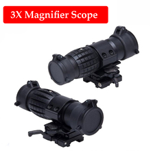 все цены на Hunting Optics Sight Tactical 3X Magnifier Rifle Scope Air Gun Magnifier With Flip Up Cover Fit For 20mm Rifle Gun Rail Mount онлайн