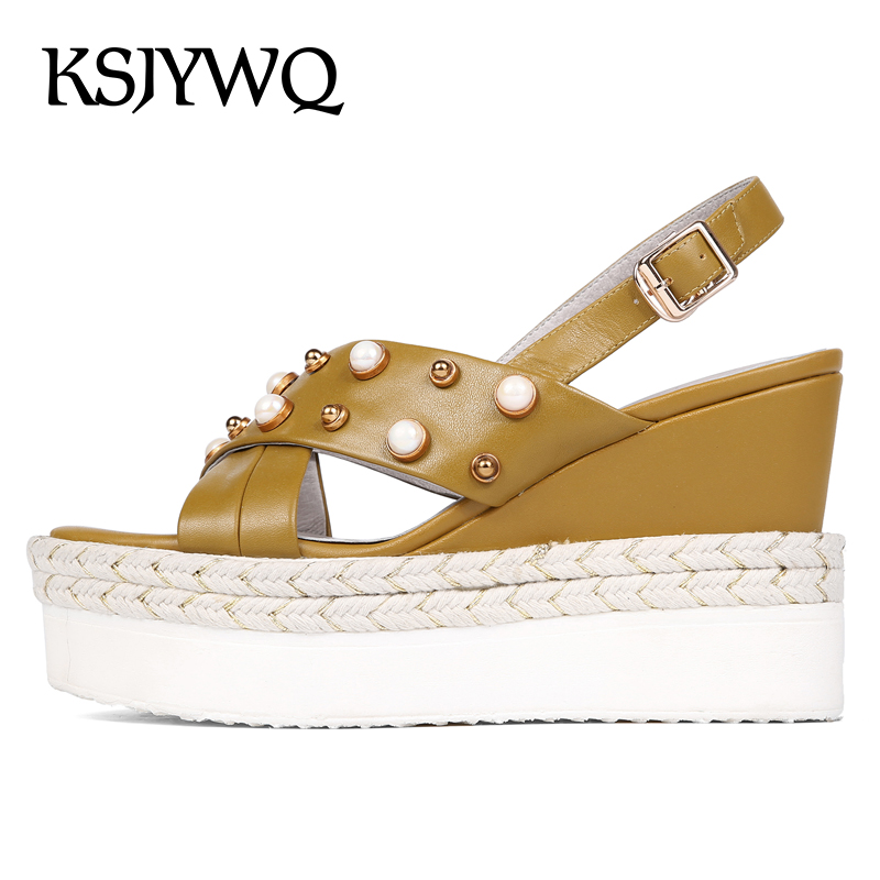 KSJYWQ Genuine Leather Women Platform Sandals Sexy Open-toe Summer Wedges 9 CM High Heels Woman Pearls Shoes Box Packing 6606 woman fashion high heels sandals women genuine leather buckle summer shoes brand new wedges casual platform sandal gold silver