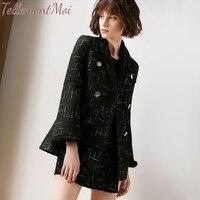 Весенне осенний Женский блейзер, костюм, комплект из 2 предметов, одежда, куртка с длинными рукавами + шорты, повседневные офисные женские ко
