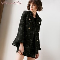Демисезонный для женщин Блейзер костюм комплект тонкий 2 шт. наряды куртка с длинными рукавами + шорты для брюки девоч