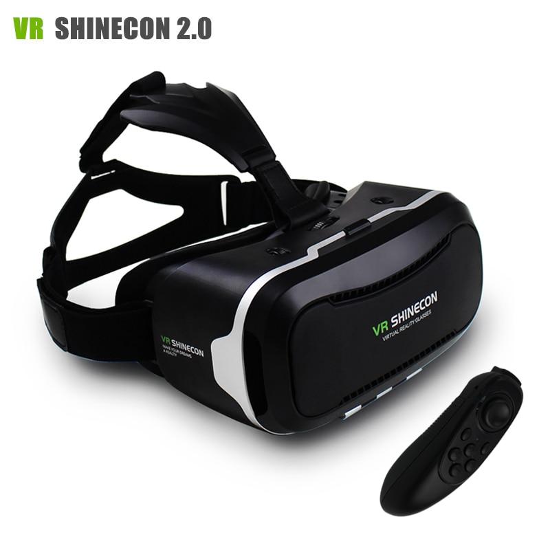 <font><b>VR</b></font> Shinecon II 2.0 <font><b>VR</b></font> Headset <font><b>Virtual</b></font> <font><b>Reality</b></font> 3D Video <font><b>Glasses</b></font> Helmet Mobile 3D <font><b>Private</b></font> <font><b>Theater</b></font> <font><b>for</b></font> 4.7-6.0 Smartphone +Gamepad