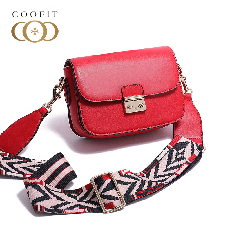 2018 New Lock Button Design Crossbody Bag Women Lady Fashion PU Leather Handbag With Colorful Strap Female Mini Bags Flap Coofit