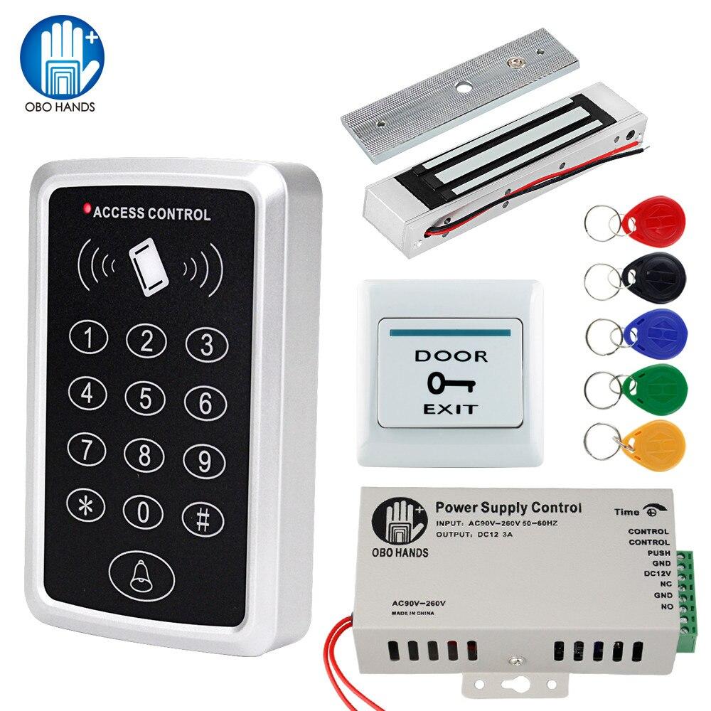 OBO RFID Door Access Control System Kit Set 125KHz RFID Keypad Waterproof Cover With Electronic Locks 180KG Magnetic Strike Lock
