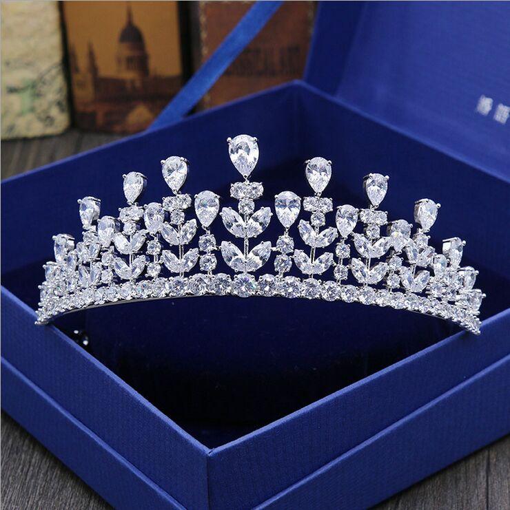 Shosixuan new luxury aaa cubic zircon diadem tiaras wedding accessories bridal hair jewelry zirconia queen crowns