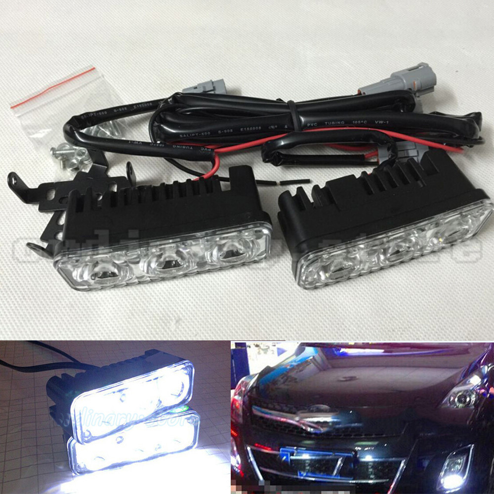 1 Pair Waterproof Super Bright White 12W LED Car Headlight Daytime Running Light DRL Fog Driving Safety Daylight Head Lamp so k 4x p15d px15d t19 p15d 25 1 h6m 50w high power cree super bright motorcycle moto led headlight driving lamp drl white