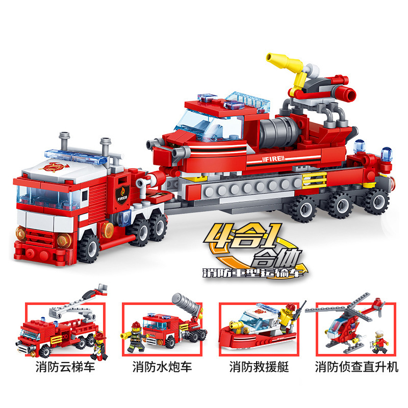 348PCS Fire Fighting Trucks Car Helicopter Boat Building Blocks Compatible Legoingly City Bricks Playmobil Baby For Children Boy