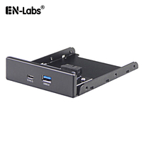 Internal USB 3.1 Gen 1 Type C + USB 3.0 Port Hub Front Panel w/ 20 pin Extension Cable for Desktop PC Case 3.5 Floppy Bay Mount