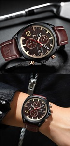Image 5 - CURREN reloj deportivo para hombre, resistente al agua, con cronógrafo, militar, de cuero, 8324