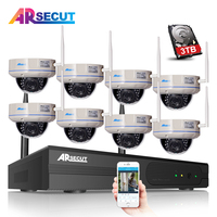 3TB HDD 8CH NVR Wireless Network CCTV Security System Onvif 2 0MP 1080P HD Outdoor Vandalproof