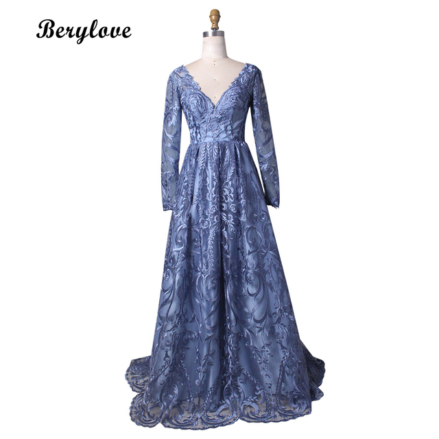 BeryLove Long Sleeves Blue Evening Dresses Styles V Neck Lace Prom Dresses  2018 Elegant Evening Dress Elegant Prom Party Gowns f3718481c335