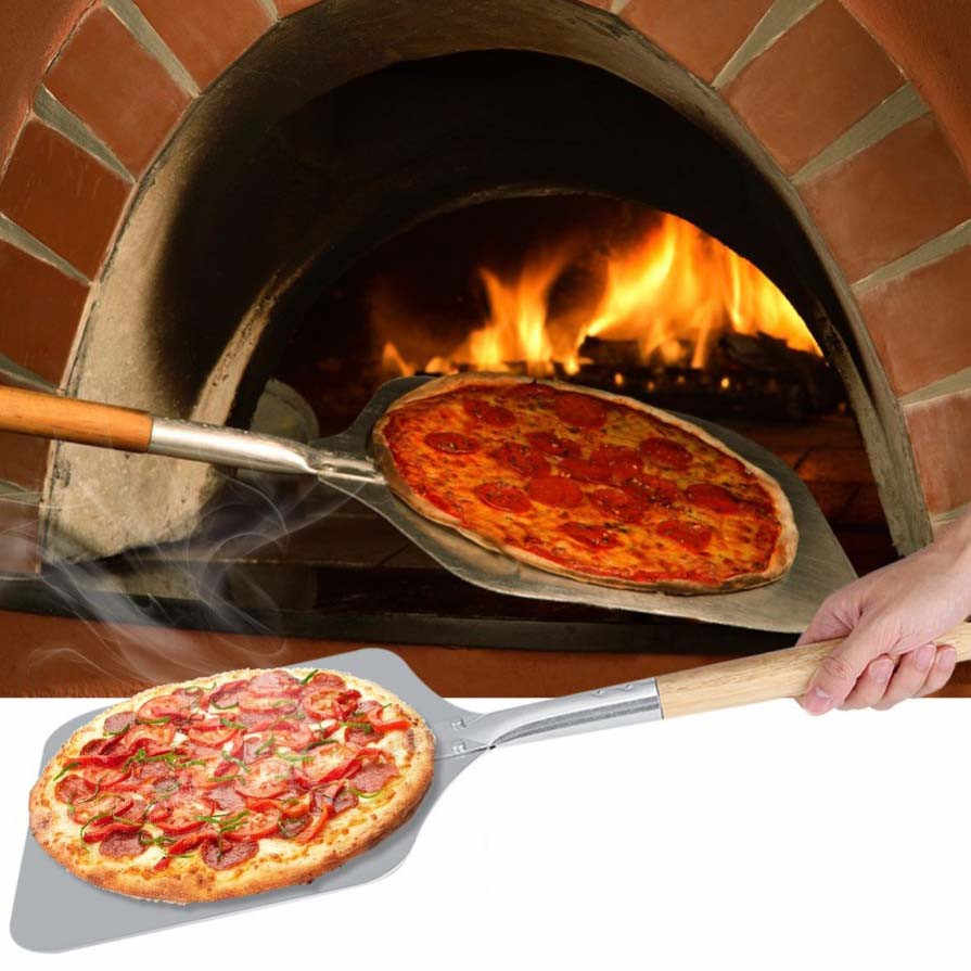 Pizza Peel with Wooden Handle 1Pc Aluminum Alloy Professional Use at Kitchen for Bakers Oven Restaurant Paddle