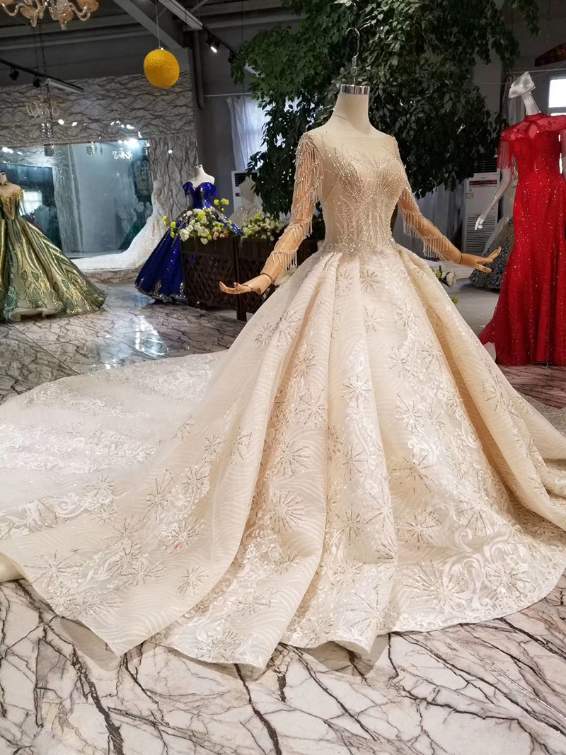HTL106 2019 New material wedding dresses with royal long train o neck long sleeve luxury handmade bride wedding gown fashion in Wedding Dresses from Weddings Events