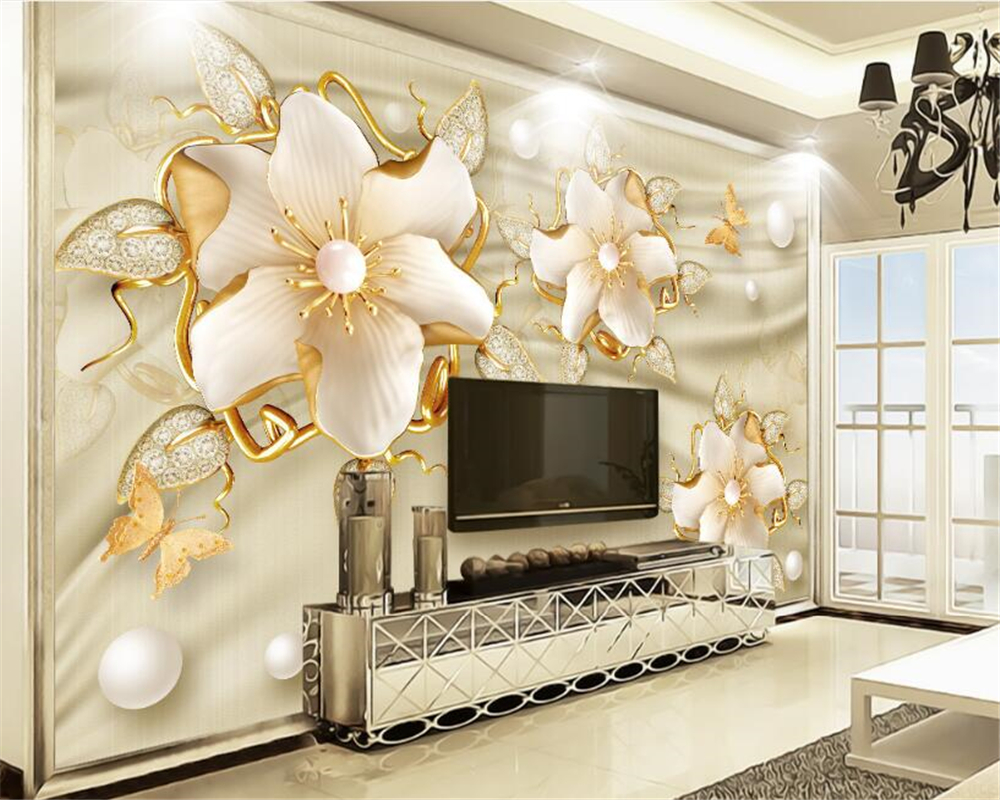 beibehang Custom high-level decorative painting wall paper luxury gold jewelry flowers silk jewelry TV background 3d wallpaper beibehang custom high level wallpaper 3d
