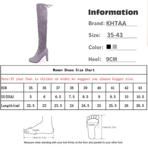 Image 5 - Women Thigh High Boots Fashion Suede Leather High Heels Lace up Female Over The Knee Boots Plus Size Shoes Drop Shipping 2020