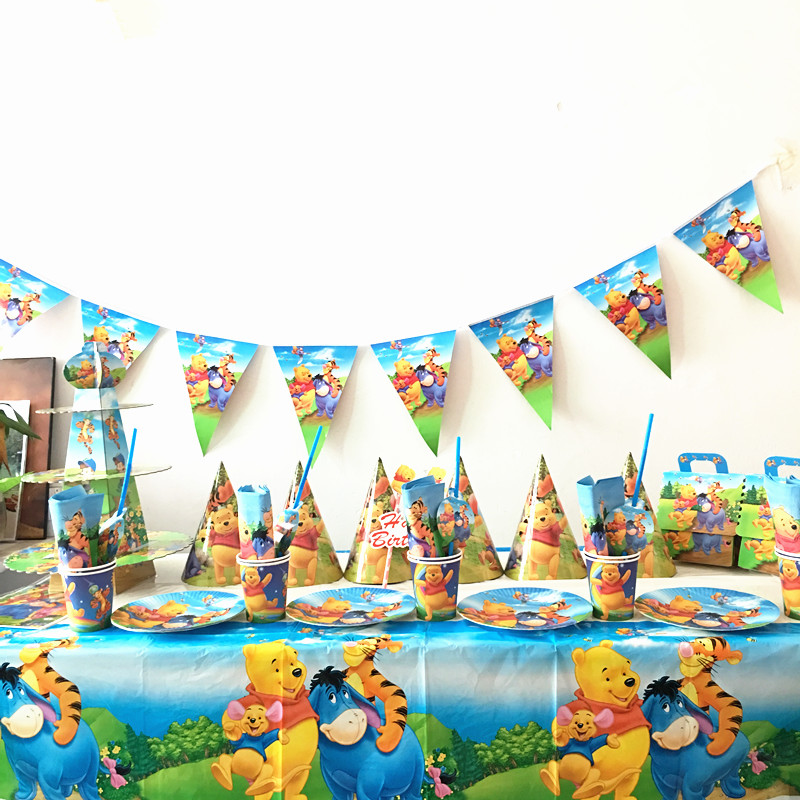 76pcs lot Winnie the pooh plates cups kids birthday party supplies boys favor Winnie the pooh