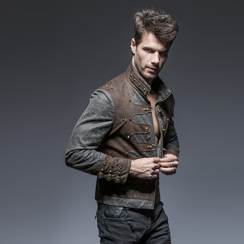 Steampunk Men's Stand Collar Zipper Design Coffee Stitching Grey Jacket Slim Rivet Long Sleeve Warm Handsome Male Coats