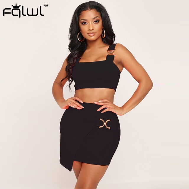 1629519bbe15d FQLWL Casual Spaghetti Strap Bandage Summer Dress Women 2019 Backless Two  Piece Black White Bodycon Sexy Club Short