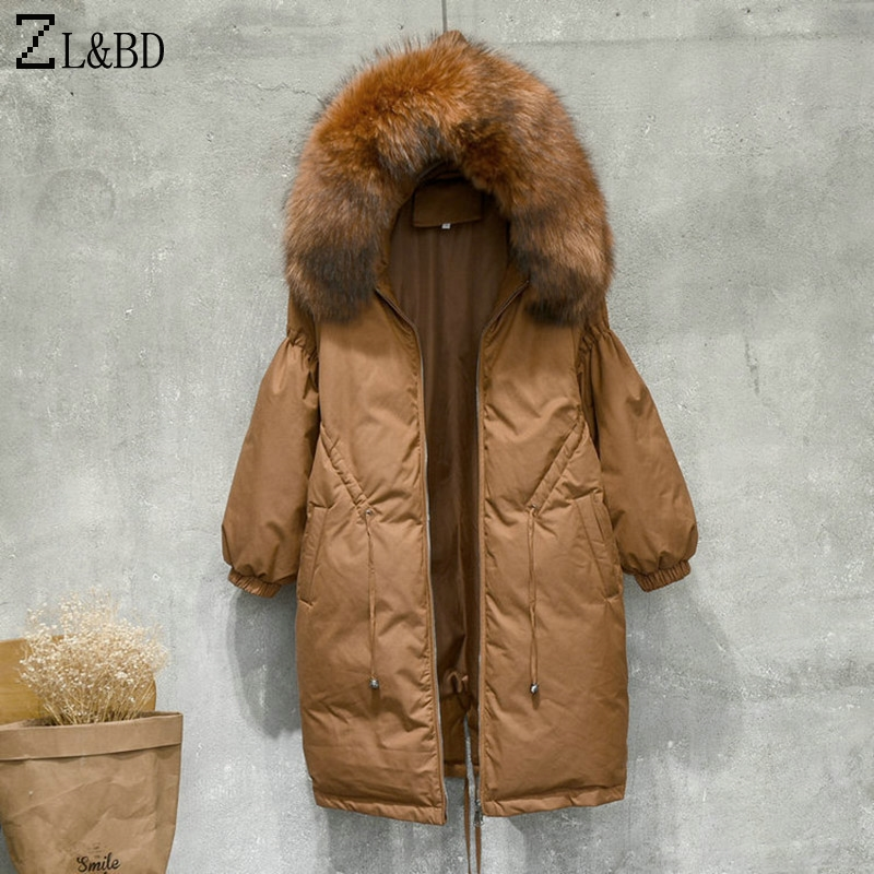 ZL&BD campera pluma mujer Duck Down Jacket Women Winter Warm Real Fur Collar Hooded Oversized Down Coat Feather Jacket ZA874