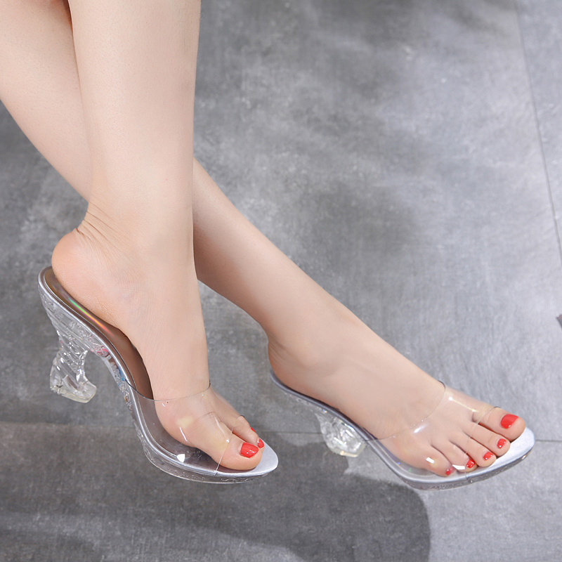 a8a853ecc8e HIZCINTH 2018 Summer Flip Flops Shoes Woman Real Fur Sandals Fashion Half Slippers  Strange Style High Heels Slides Womens Beach